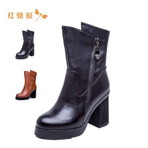 【专柜正品】红蜻蜓女鞋圆头拉链不规则筒领潮流女中高靴