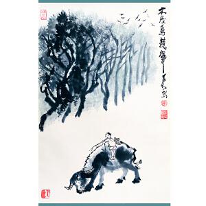 中国近代杰出画家、诗人,画家齐白石弟子 李可染《牧归图》DW178