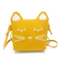 儿童单肩包可爱小猫咪印花零钱包女童小挎包时尚韩版小包包男童 黄色172 猫咪