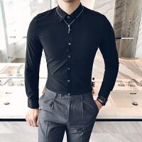 男衬衫长袖修身韩版潮流白色发型师衬衣休闲夜店个性寸衣