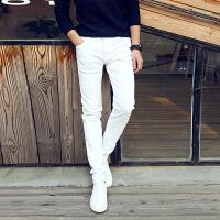 韩版秋季休闲纯白牛仔裤修身弹力加绒加厚小脚秋冬长裤子男潮白色