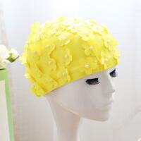 泳帽女花朵舒适布料不勒头游泳配件安全舒适泳帽 珍珠