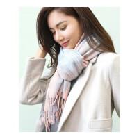 女士秋冬季厚保暖流苏韩版围巾大格子披肩两用仿羊绒围巾