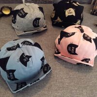 新款新生婴幼儿男女童可爱猫咪鸭舌帽儿童棒球帽宝宝帽子秋冬