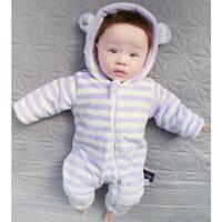 婴儿连体衣服冬季宝宝0岁月新生儿冬装睡衣休闲外出服新年