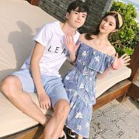 0601965花边短袖情侣装夏装上衣女裙子套装男T恤沙滩海边新款潮