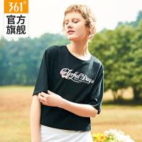 【满99减50元】361度女装2019夏季新款短袖薄运动T恤时尚宽松运动服N 661929124