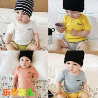 婴儿短袖T恤衫新生儿小宝宝上衣弹力全棉夏装3-6-9个月0-1岁夏款