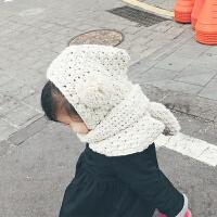 围脖一体毛线帽 宝宝帽子秋冬女童公主韩版围脖耳朵毛线帽