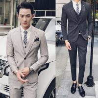 英伦男士西装三件套韩版潮流发型师西服套装夜店青年修身结婚礼服