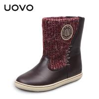 UOVO2017冬季新款童鞋女童保暖休闲靴子儿童雪地靴  卑尔根