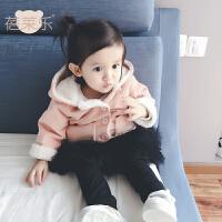 女宝宝衣服冬季1岁6个月女童新生儿加厚连帽外套秋冬装婴儿外出服