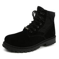 时尚秋冬新款马丁鞋 户外反绒皮中筒马丁靴男 防滑工装靴工装鞋