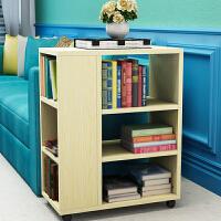 置物架 创意小书架儿童书柜带轮收纳架客厅沙发边几何移动落地置物架