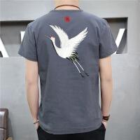 中风男装夏季亚麻短袖t恤中式复古棉麻料刺绣体恤大码宽松半袖