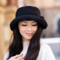 女士帽子时尚潮百搭新款圆脸日系休闲贝雷帽卷边渔夫盆帽