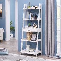 美式实木书架置物架书柜陈列架落地简易靠墙客厅梯形花架多层架 带抽屉