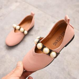 儿童皮鞋 女童防滑包头低帮单色单鞋秋季韩版新款时尚休闲中大童款式鞋子