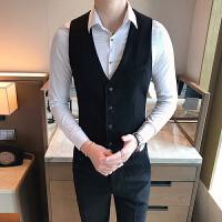 新款商务男士修身马甲衬衫西裤三件套青年免烫皱伴郎礼服工作服