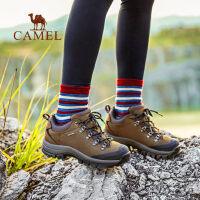 camel骆驼户外登山鞋男女 秋冬情侣款防滑耐磨牛皮徒步鞋
