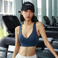 可调节背心式运动文胸高防震跑步聚拢健身内衣女V领速干瑜伽服