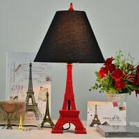 巴黎铁塔床头灯 欧式台灯 创意台灯埃菲尔铁塔铁艺台灯欧式巴黎浪漫法式台灯纯黑牛角架复古床头