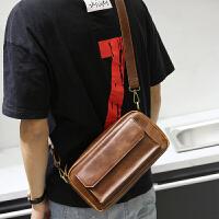 皮单肩男包斜挎包休闲韩版小包咖啡复古背包潮流英伦新款方包 咖啡色