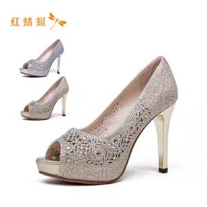 【专柜正品】红蜻蜓女鞋时尚亮面鱼嘴高跟细跟女单鞋