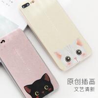�有钠还�7/8/X手机壳iPhone10保护套超薄猫咪新款软壳防摔挂绳孔
