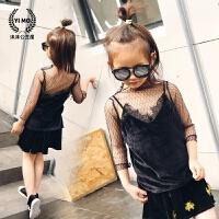 女童背心韩版春夏儿童工字吊带蕾丝金丝绒宝宝贴身打底小内衣