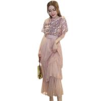2018夏装新款洋气T恤上衣网纱蛋糕裙半身裙时尚套装潮时髦两件套