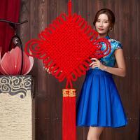 新年过年装饰挂件乔迁客厅室内大中国结挂饰绒布福字房门布置用品