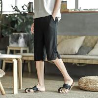 18夏季新款男士中国风亚麻裤子男五分裤短裤棉麻宽松青年直筒中裤