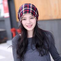 韩版潮帽子女月子帽保暖围脖脖套两用帽睡帽围巾帽头巾套头帽