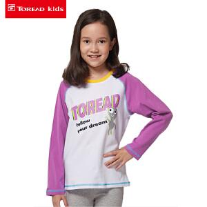 探路者童装 女童拼色落肩袖印花长袖T恤