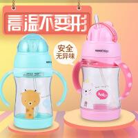 儿童吸管杯学饮杯带奶嘴两用宝宝奶瓶带手柄防摔婴儿奶瓶喝水杯子