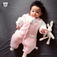 婴儿连体衣服03个月宝宝新生儿冬装春冬装棉衣哈衣01岁新年