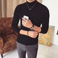 秋冬半领毛衣男士韩版个性针织衫纯色黑色毛衣毛线衣男时尚潮流