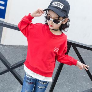 乌龟先森 儿童卫衣 女童秋季韩版新款圆领长袖单色印花套头打底衫时尚舒适百搭中大童款式T恤