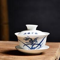 创意中式青花瓷泡茶盖碗高白瓷盖碗茶杯茶备功夫茶具茶具配件