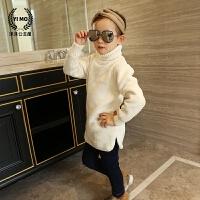 女童针织衫套头中长款开叉韩版新款冬季纯色加绒加厚保暖高领毛衣