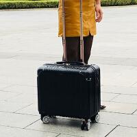 16寸迷你小型行李箱包20横款密码登机18女男学生方拉杆旅行皮箱子 黑色 黑色豪华版 16寸