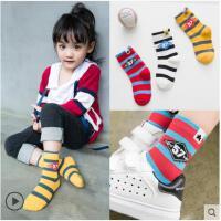 条纹儿童袜子堆堆袜纯棉秋冬款男童孩女童中高筒宝宝3-5-7-9-10岁