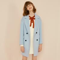 诗凡黎冬装新款韩版中长款宽松学生呢子大衣小个子毛呢外套女