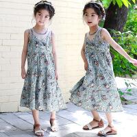 韩版女童2018新款童装小女孩波西米亚吊带儿童沙滩裙度假无袖长裙