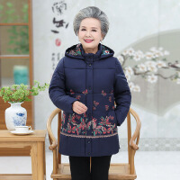 中老年棉服 中老年人棉服中长款2020冬季新款老太太加厚棉衣妈妈连帽外套