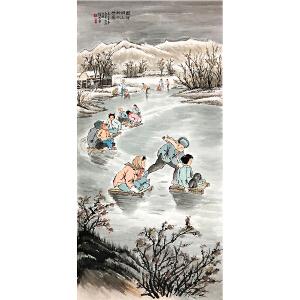 钱松�恰兑�河湖上的小坦克》著名画家