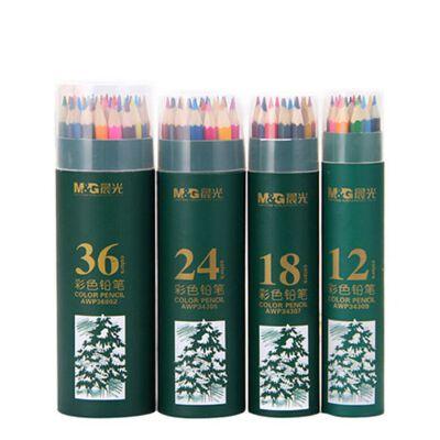晨光筒装彩色铅笔48色/36色/24色/18色/12色小学生绘图涂鸦彩铅 AWP36802 全场满50元包邮,新疆西藏除外