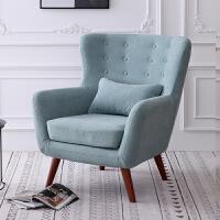 单人沙发美式老虎椅北欧小户型休闲懒人卧室阳台客厅布艺防污面料