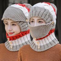 韩版百搭护耳围脖一体潮帽子 户外骑行保暖加绒针织帽 骑车防风毛线帽子女